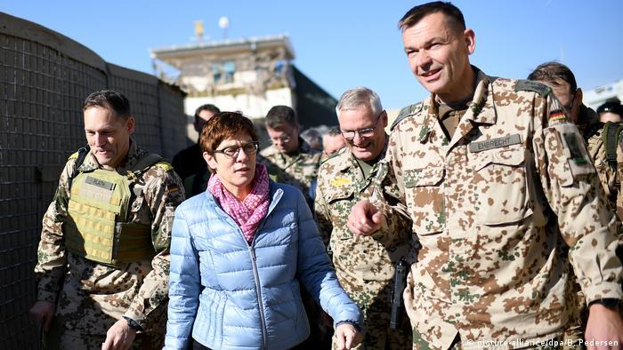 German Defense Minister Annegret Kramp-Karrenabuer visiting troops in Afghanistan, December 2019