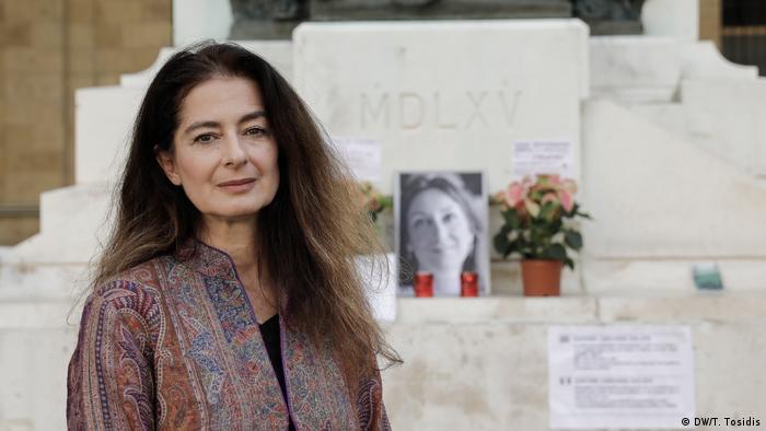 Corinne Vella at memorial for Daphne Caruana Galizia
