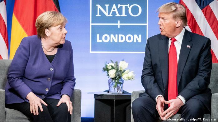 UK NATO Gipfel | Merkel und Trump