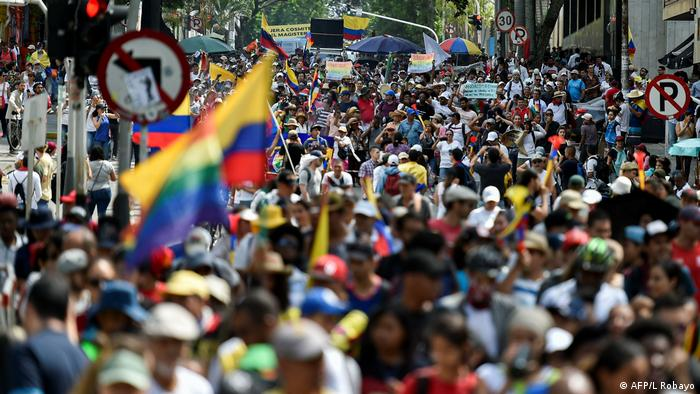 Anti-government protesters march in Cali, Colombia.