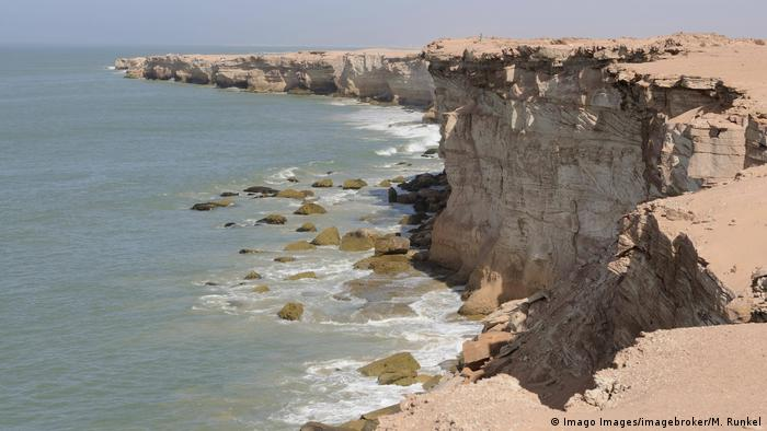 Sandstone cliffs at Cap Blanc, near Nouadhibou, Mauritania