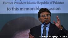 Former Pakistani president and military ruler, Pervez Musharraf addresses a youth parliament in Karachi on December 4, 2014. Musharraf gave a historical account of militancy in the country during his address. AFP PHOTO/ Asif HASSAN (Photo credit should read ASIF HASSAN/AFP via Getty Images)
