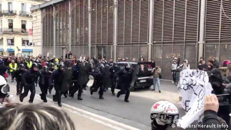 Riot police in Montpellier, France charge demonstrators