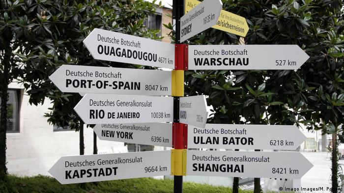Deutschland 2006   Wegweiser vor dem Auswärtigen Amt