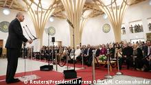 President of Turkey Recep Tayyip Erdogan adresses the audience during the official opening of the new Cambridge Central Mosque, in Cambridge, Britain, December 5, 2019. Murat Cetinmuhurdar/Presidential Press Office/Handout via REUTERS THIS IMAGE HAS BEEN SUPPLIED BY A THIRD PARTY.