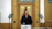 LONDON, ENGLAND - DECEMBER 5: Turkish President Recep Tayyip Erdogan makes a speech as he attends official opening ceremony of Cambridge Central Mosque in London, United Kingdom on December 5, 2019. Mehmet Ali Ozcan / Anadolu Agency   Keine Weitergabe an Wiederverkäufer.