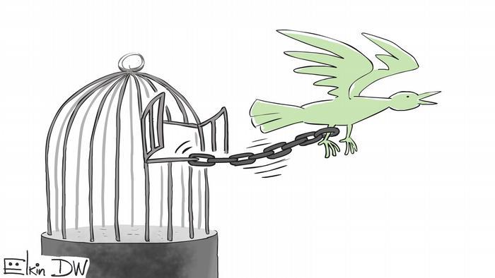Карикатура Сергея Елкина по приговору Егору Жукову. Птица вылетела из клетки, но привязана за ногу к одному из прутьев решетки