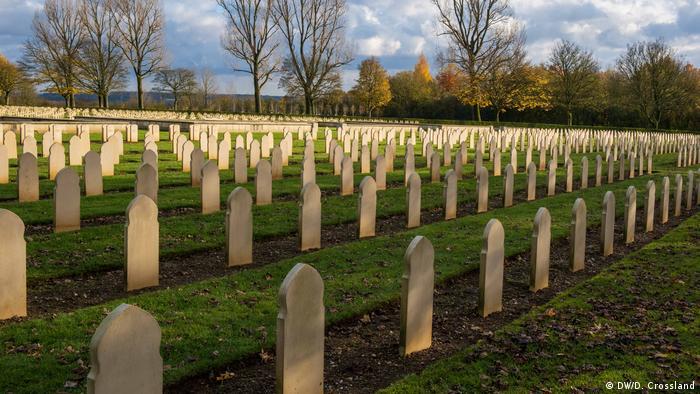 Lines of gravestones at Notre Dame de Lorette, France