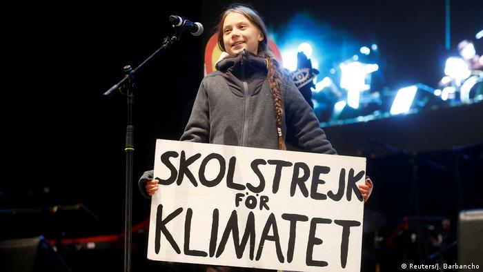 Climate change activist Greta Thunberg delivers a speech at a climate change protest march, as COP25 climate summit is held in Madrid