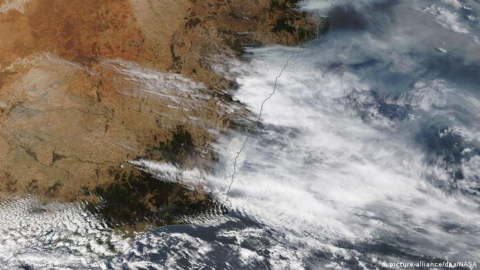 A satellite image of fires in Australia