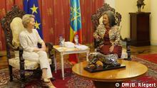 Ursula von der Leyen, EU-Kommissionspräsidentin (li.) und die Staatspräsidentin von Äthiopien Sahle Worke Zewde beim Empfang im Präsidentenpalast in Addis Abeba, Äthiopien. Aufgenommen am 07.12.2019. Foto: Bernd Riegert, DW, alle Rechte
