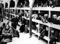 گرسنگی و سرما در آشویتس حاکم بود. این عکس محل نگهداری زنان را در آشویتس نشان میدهد. برای زنان بخشی جداگانه در نظر گرفته شده بود.