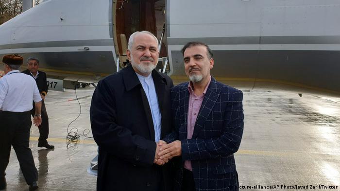 Gefangenenaustausch USA und Iran Mohammad Javad Zarif und Massoud Soleimani (picture-alliance/AP Photo/Javad Zarif/Twitter)