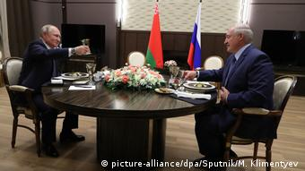 Владимир Путин и Александр Лукашенко на встрече, 8 декабря 2019 года