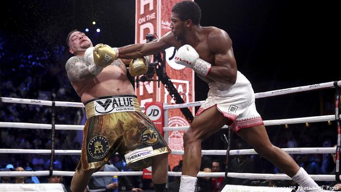 Anthony Joshua lands a punch during a fight with Andy Ruiz Jr.