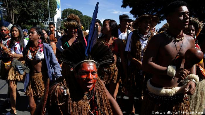 Indigenous activists protest in Brasilia, June 2019