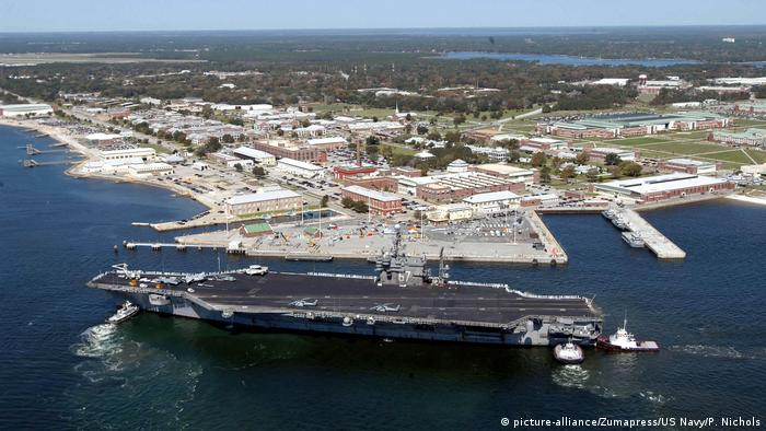 Aerial view of US naval base in Pensacola, Florida