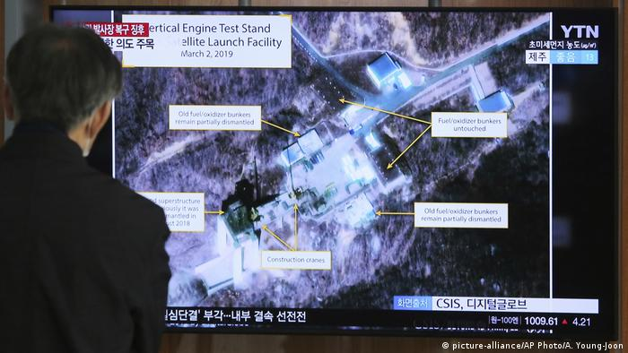 A satellite image of a North Korean rocket test in 2019