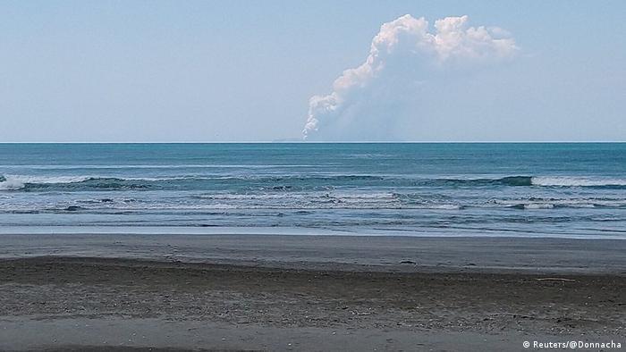 Smoke billows from Whakaari, also known as White Island