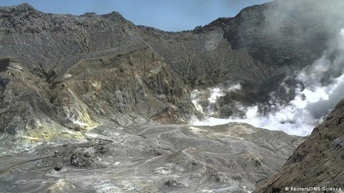 Aerial view of hikers on White Island's crater rim