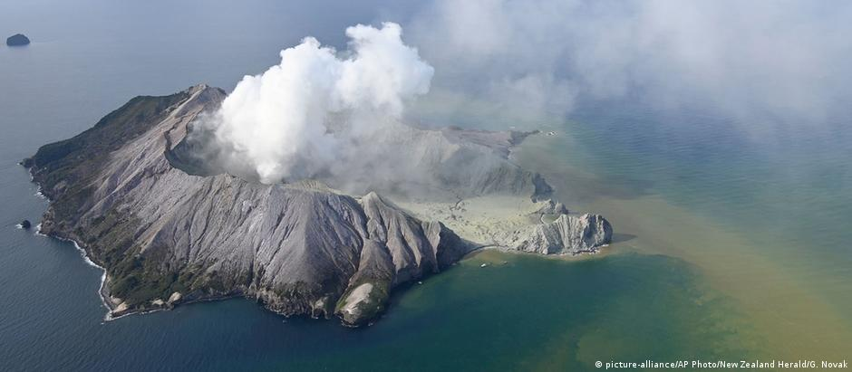 White Island, New Zealand after its volcanic eruption