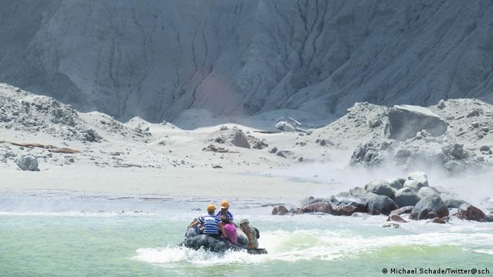 People on a boat at Whakaari, White Island