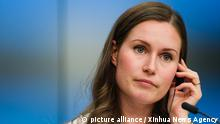(190920) -- BRUSSELS, Sept. 20, 2019 (Xinhua) -- Finnish Minister of Transport and Communications Sanna Marin attends a press conference of the EU Transport, Telecommunications and Energy Council, in Brussels, Belgium, Sept. 20, 2019. (Xinhua/Zhang Cheng)   Keine Weitergabe an Wiederverkäufer.