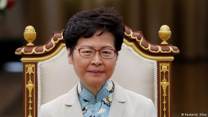 Hong Kong Chief Executive Carrie Lam sits in a chair (Reuters/J. Silva)