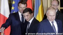 Frankreich Normandie | Gipfeltreffen: Emmanuel Macron, Wladimir Putin und Wolodymyr Selenskyj