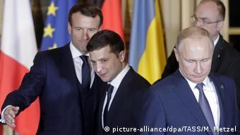 Макрон, Зеленский и Путин на саммите в Париже, 9 декабря 2019