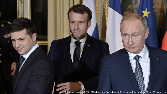 Puitn und Selenskyj mit Macron in Paris