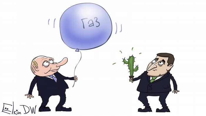 Путин с воздушным шариком с надписью газ и Зеленский с кактусом - карикатура Сергея Елкина