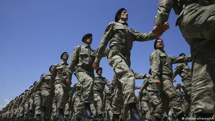 Turkish soldiers marching