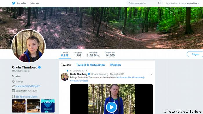 Screenshot do perfil no Twitter de Greta Thunberg (@GretaThunberg)