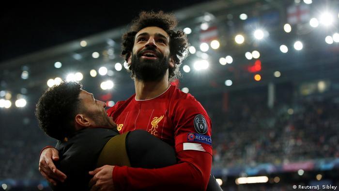 Fussball Champions League l Red Bull Salzburg vs Liverpool l Tor 0:2 - Mohamed Salah Jubel