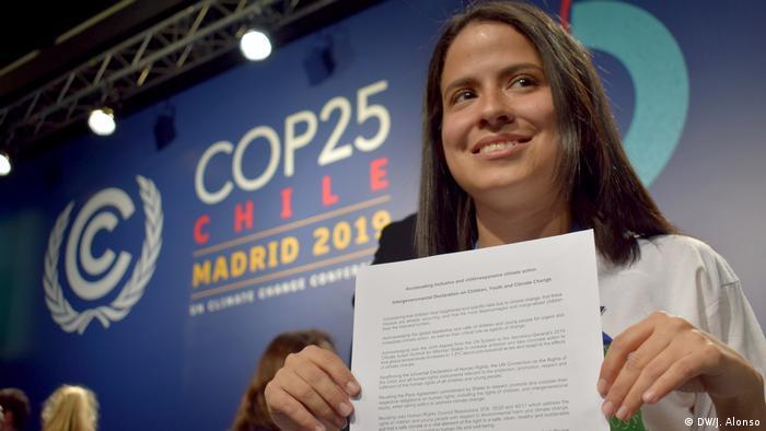 La activista costarricense Sara Cognuck participó en la Declaración sobre los Niños, Niñas, Jóvenes y la Acción Climática presentada en la COP25.