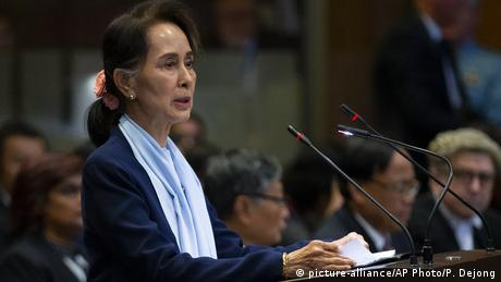 Myanmar's leader Aung San Suu Kyi addresses judges of the International Court of Justice for the second day of three days of hearings in The Hague