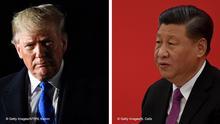Bildkombo Donald Trump und Xi Jinping