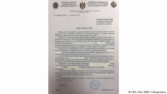 Scrisoarea CNA adresată ambasadorului României la Chișinău