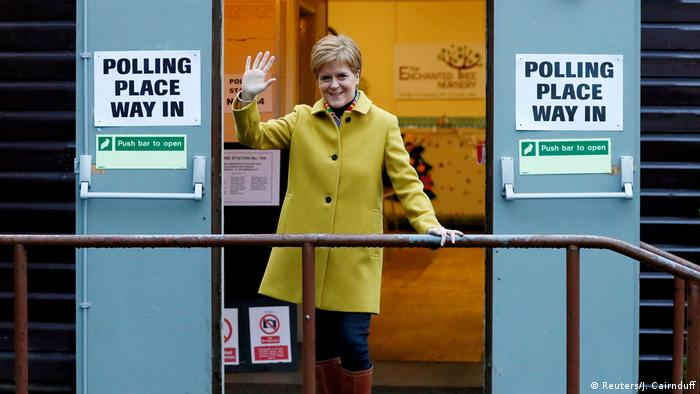 Nicola Sturgeon, the leader of the Scottish National Party arrives to vote in Glasgow