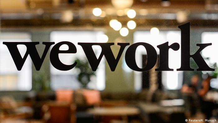 WeWork logo on an office window