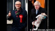 (COMBO) In this combination of photos created on December 12, 2019, Britain's Prime Minister Boris Johnson and his dog Dilyn (top), and Britain's Labour Party leader Jeremy Corbyn, are are seen as they attend Polling Stations to cast their ballot papers and vote on December 12, 2019, as Britain holds a general election. (Photo by Tolga AKMEN and Daniel LEAL-OLIVAS / AFP)