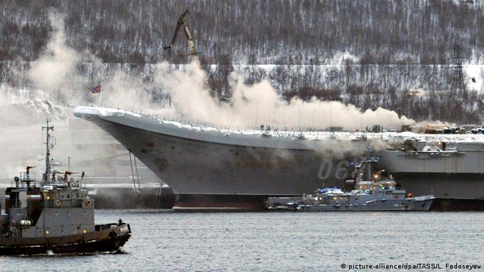 Пожар на авианосце Адмирал Кузнецов в Мурманске