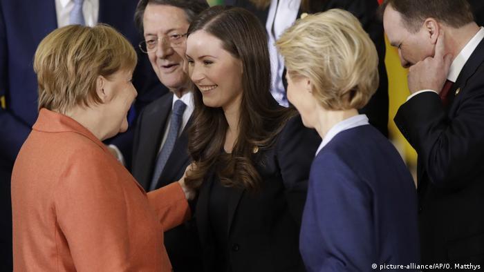 Германската канцлерка Ангела Меркел, министър-председателката на Финландия Сана Марин и председателката на ЕК Урсула фон дер Лайен