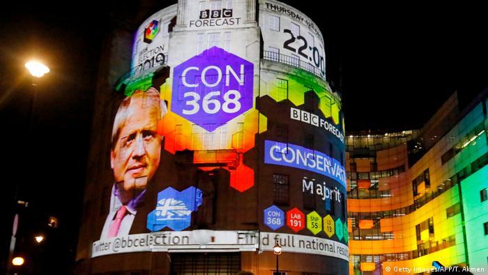 Реклама з портретом Бориса Джонсона на будівлі BBC в Лондоні