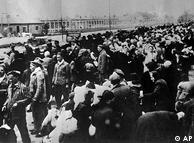 Prisoners lined up for deportation to the Auschwitz concentration camp