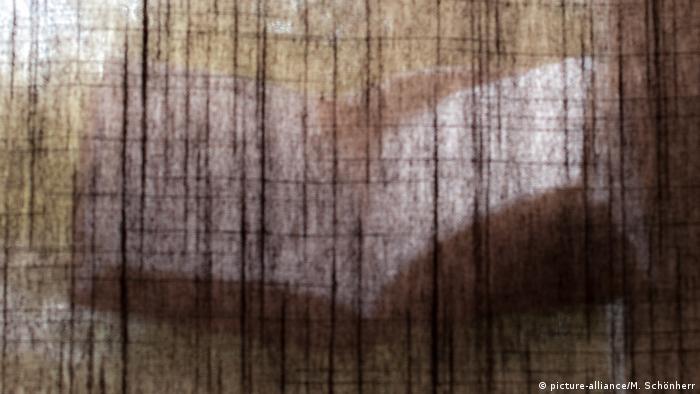 Barely visible book behind a curtain (picture-alliance/M. Schönherr)