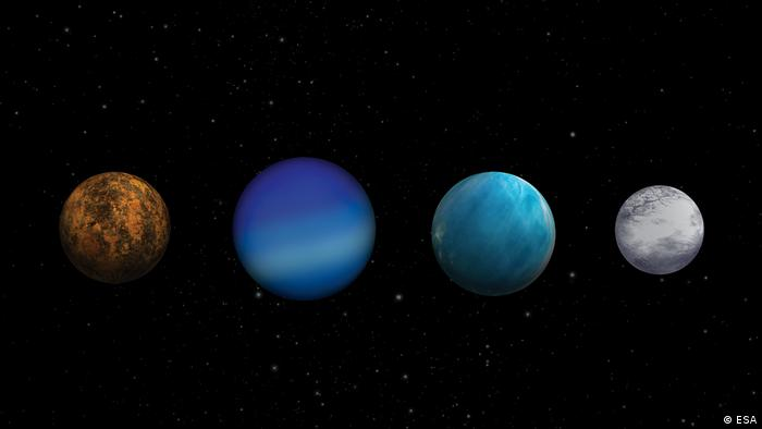 Different types of Exoplanets. (ESA)