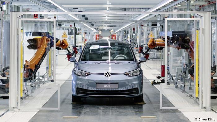 VW car on a production line