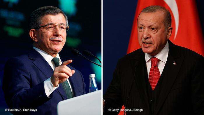 صورة مركبة للرئيس التركي أردوغان ورئيس الوزراء السابق أحمد داود أوغلو